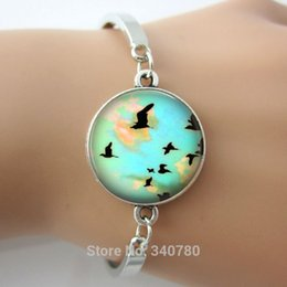 Wholesale Silver Bird Bangle Cuff - Fashion Bangles glass cabochon dome with birds,map picture bracelets & bangles,antique silver metal cuff bangles free shipping
