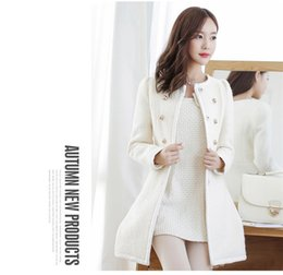 Wholesale Trench Coats Rounded Collar - Wholesale-Free postage In beige double-breasted long fur coat S-XL Khaki round collar autumn trench coat Black stitching lady's coat