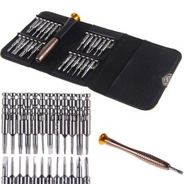 Wholesale Metal Pry Tools - New 25 In 1 Cell Phones Screen Opening Pry Repair Screwdrivers Tool Set Kit Metal Spudger for Free Shipping