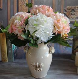 """Pétales de fleurs de soie verte en Ligne-Soie Tige Simple Hortensia 46cm / 18.11 """"Longueur Fleurs Artificielles Hortensias Double Pétales avec Feuille Verte pour Bouquet De Mariée DIY"""