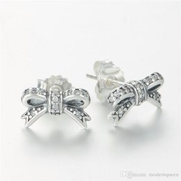 e0f60759f BOW SUD EARRINGS S925 sterling silver fits pandora style jewellery charms  free shipping best quality aleer115