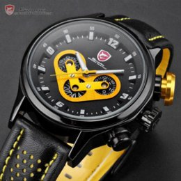 Wholesale Shark Sport Watch Black - Brand New SHARK Date Day 24 Hours 6 Hands Stainless Case Leather Band Black Yellow Cycling Mens Sport Quartz Wrist Watch   SH091