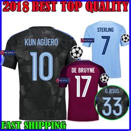 Wholesale Man City Away - 17 18 MAN CITY Champions League soccer jersey KUN AGUERO STERLING 2017 2018 HOME Gabriel Jesus DE BRUYNE sane AWAY third camiseta de futbol