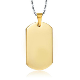 Wholesale Wholesale Name Plate Necklaces - Stainless Steel Personalized Dog Tag Necklace 18K Gold Plated Military Dog Tag Engraved Custom Stamped Blanks Name Necklace