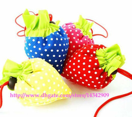 Wholesale Purple Strawberries - 200pcs lot # Portable Cute Strawberry Bags Eco Reusable Shopping Bag Tote Folding Foldable Bag Free Shipping