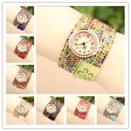 Wholesale Quartz Watches Korea - Hot Korea Velvet Wrap Watch Women Watches Lady Wrist Watches Round Dial Charming Bracelets Watches Mix Colors Free Drop Shipping