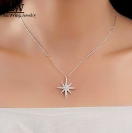 Wholesale Eastern Star Necklace - Elegant 925 sterling silver star pendant necklace high quality CZ stone star necklace jewelry