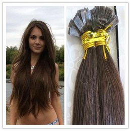 Wholesale Indian Remy Keratin Black - Flat Tip Keratin Hair Extensions 100% Human Brazilian Remy Hair pre bonded hair 1G S 100G PC 300G Lot in stock Free Shipping