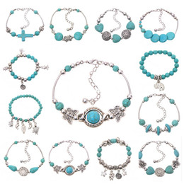Wholesale Handmade Ring Settings - New Women Bohemian bracelets elephant butterfly peace Turquoise Beaded silver plated handmade Charm Bracelet Jewelry Gifts Accessories hot