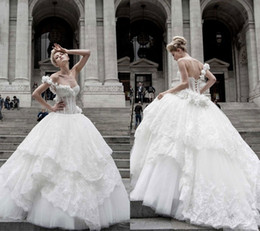 Wholesale Tornai Wedding Dress - 2015 Pnina Tornai Ball Gown Wedding Dresses Lace Applique One Shoulder Lace-up Back Sweep Train Tulle Tiers Beads Bridal Gown