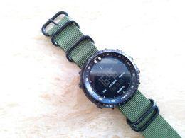 Relogios táticos on-line-Novo Exército Verde 24mm Zulu Strap Tactical Engrossar Nylon 5-Anéis dos homens Watch Band + Adaptadores + Lugs Para Suunto Core Strap Frete Grátis