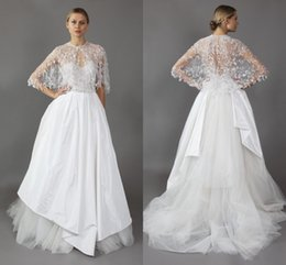 Wholesale Heavy Beaded Wedding Gowns - 2016 Wedding Dress Mira Zwillinger A-Line Appliques Lace Heavy Beaded Handmade With Cape Bridal Gowns Custom Made