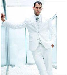 Wholesale Dinner Jackets - Custom Made 2016 Groom Tuxedos White Groomsmen Peak Lapel Best Man Suit Bridegroom Wedding Prom Dinner Suits (Jacket+Pants+Tie+Vest)