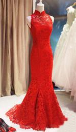Wholesale Lace Mermaid Keyhole Wedding Dress - 2015 New Design Red Lace Sexy Mermaid Attractive Wedding Dresses Sweep Train Keyhole Back Sleeveless Fashion Custom Bridal Gown High Quality