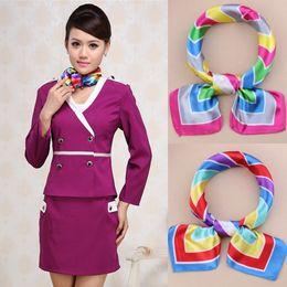 Wholesale Fedex Flights - Silk scarves 123 colors squares scarf Color butyl Satin for flight attendant women professional dress Free Fedex TNT