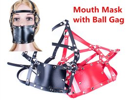 Wholesale Ball Gag Harness Red - Red Black Head Harness Mouth Ball Gag Mask BDSM Bondage Gear Slave Gags Games Adult Sex Toys for Women ASL-KQ0042 ASL-KQ0019
