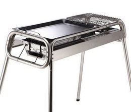 Wholesale Clean Burn - 2015new!!! Outdoor Alumina fold stainless steel wild stove portable grill large thick charcoal barbecue pits Burn oven