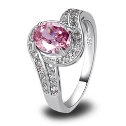 Wholesale Pink Topaz Gold Rings - Cocktail New Jewelry Rings Oval Cut Pink Sapphire White Topaz 925 Silver Ring Fashion Style Jewelry Size 7 Wholesale Free Ship