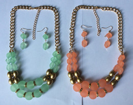 Wholesale Coral Beads Necklace Rows - New two rows frosted acrylic beads and golden CCB string necklace and earring set,Mint and Coral colours