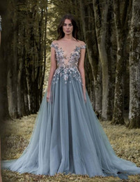 Wholesale Cheap Pink Shirts For Women - Sheer Plunging Neckline Appliqued Party Gowns Cheap Sweep Train Tulle Beads Evening Wear For Women Paolo Sebastian Lace Prom Dress 2018 New