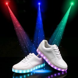 Wholesale 46 Led - 2016 hot LED Shoes light colorful Flashing Shoes with USB Charge Unisex Couple Shoes For Party Sport Casual Shoes XMAS gift big size35-46