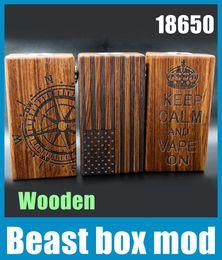 Wholesale Wooden E Cigarette Battery Box - 2015 Beast Box Mod Wooden Material Fit With Dual 18650 Battery 510 Thread Mech E Cigarette VS Sigelei 150w Box TZ511