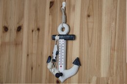 Wholesale Wall Thermometer Free Shipping - Free Shipping Creative Mediterranean Style Wooden Boat Anchor Thermometer Strap Hook,Fashion Wood Home Decor for Home Decoration