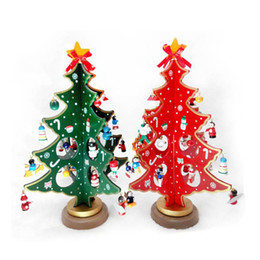 Wholesale Party Model Home - Merry Christmas 3D DIY Wooden Christmas Tree Model Toys Decorations Xmas Gift Ornament Table Desk Decoration Home Party Wedding Gifts