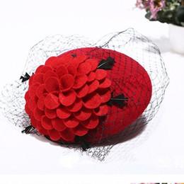 Wholesale Wool Felt Fascinator - Classic Fascinator Hair Pillbox Hat Flower Black Simplicity Women Lady Felt Cocktail Party Wedding Church Fedora Top Hat Hairpin