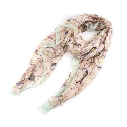 Wholesale Wholesale Bird Print Scarves - 2015 New Fashion Scarf Flower Bird Tree Branch Print Scarves For Women Spring Autumn Shawls and Scarves 4 Colors