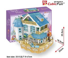 Wholesale Puzzle Lights 3d - Wholesale-BURAL VILLA with LED light CubicFun 3D educational puzzle Paper & EPS Model Papercraft Home Adornment for christmas gift