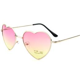 Gafas de corazón masculino online-gafas de sol de moda para hombres y mujeres Gafas de sol Love Gafas clásicas de metal retro retro Peach heart gafas masculinas y femeninas color