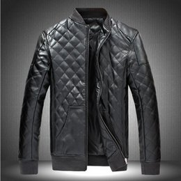 Wholesale Cheap Winter Leather Jackets - Fall-Cheap High Quality men leather jacket Black Brown Faux Leather Motorcycle Jacket Mens Stand Collar Chaquetas Winter jacket M-5XL