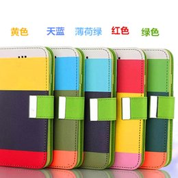 Wholesale Multi Colour Leather Case - MULTI-COLOUR Stripe Wallet cases Credit Card Stand Holder PU Leather Cover for iPhone 6 Plus 6+ 4 4S 5 5S Samaung galaxy S3 S4 S5 note 3 4
