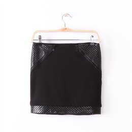 Wholesale Tight Pencil Skirts Sale - New Arrival Womens Sexy Tight Mini Skirts Ladies Hot Sale Fashion Black PU Leather Patchwork Zippers Slim Pencil Skirts For Women