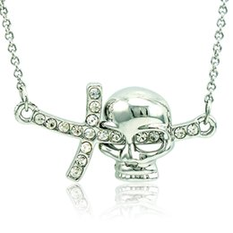 Wholesale Silver Skull Jewelry Wholesale - 2016 Brand New Pendant Necklace Fashion White Rhinestone Skull Charms Silver Plated Necklace For Men Jewelry QRXL0034