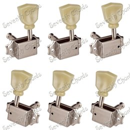 Wholesale Deluxe Guitar - A Set Nickel Deluxe String Tuning Pegs Tuners Machine Heads for Acoustic Electric Guitar Replacement -3L3R - 2L4R - 4L2R
