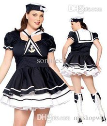 Wholesale Plus Size Girls Uniforms - Wholesale-Fat Women Sexy Plus Size XXXL Sailor Sweetie Costume S8202P Lady Cosplay Game Uniform Plus Girl Role Play Halloween Costume