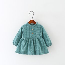 Wholesale Gown For Korean Princess - Wholesale- 2017 Spring and Autumn Korean Children's Dress For Girls Cotton Baby Princess Vest Dresses Ball Gown Flower Pattern New Arrivals