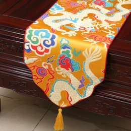 Wholesale Easter Table Runners - Thicken Dragon Table Runners Extra Long Luxury Table Mat Chinese style High-density Silk Brocade Coffee Table Cloth Wedding Feast Decoration