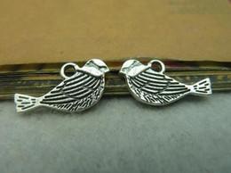 Wholesale Tibetan Silver Bird Beads - 21*11MM DIY jewelry accessories bird charms, vintage antique bronze craft charm metal pendant, tibetan silver magpie charm beads