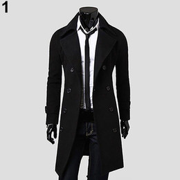 Wholesale Stylish Men Trench Coats - Wholesale- Men Winter Stylish Slim Double Breasted Trench Coat Long Jacket Outwear Overcoat