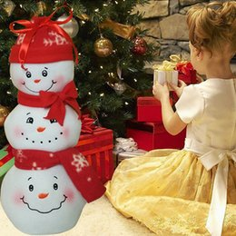 Wholesale Patterned Table Cloth - Wholesale- Christmas Candy three Snowman Pattern Candy Bags Gift Storage Holder For new year table decoration Supplies