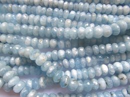 Wholesale Natural Beryl Aquamarine - free ship--genuine aquamarine-beryl 4x6 5x8 6x10 7x12mm 16inch high quality natural gemstone rondelle abacus faceted milky jewelry beads