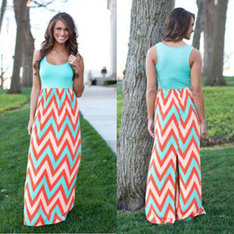 Wholesale Maxi Dress For Women - 2015 new style Striped Summer dress V-neck sky blue Tank Bohemian Plus Size Long Maxi Casual dress for women femal ladies FG1511