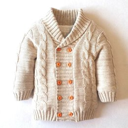 Wholesale Double Collar Coat - Retail Children Cardigan Double-breasted Fleece Thick long sleeve Knitting sweater Coat Children Clothes E435