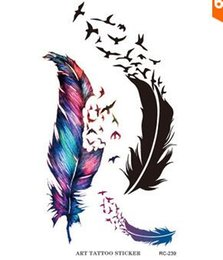 Wholesale Temporary Tattoo Sticker Sex - Water Transfer Flash Fake Tattoo Sticker Sex Products Waterproof Temporary Tattoo Sticker The Wind Wind Blown Feathers JIA031