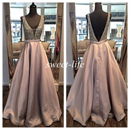 Wholesale Cheap Occasion Wear - Ream Images Long Evening Dresses Backless Ball Gown Deep V Neck Beading Satin Sleeveless 2016 Occasion Dress Cheap Pageant Party Prom Gowns