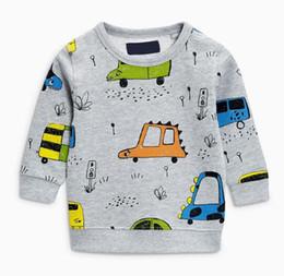 Wholesale Cartoon Boy Hood - BST31 autumn style cute boy cartoon cars print round collar long sleeve velet coat boy fall winter warm coat