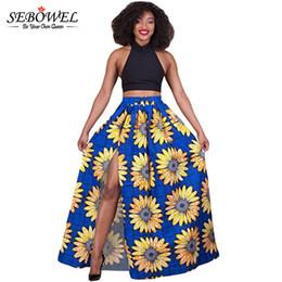 Wholesale Fabric Sunflowers - SEBOWEL African Fabric Sunflower floral Printed High Waist Split Maxi Skirt Plus Size Midi Skirts Long Maxi Ball Gown Skirts q1113